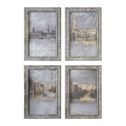 Uttermost - Uttermost Antique Venetian Views Framed Wall Art X-05065 - Frames feature colors of mottled grays, blue-greens and taupes with a silver and taupe glaze. Prints are under glass.