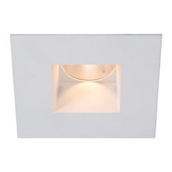 """WAC - WAC Tesla White 45 Degree LED 2"""" Recessed Downlight Trim - From WAC Lighting comes this white LED square recessed lighting option with housing trim and interior reflector for sloped ceilings. The design offers low glare with a 30 degree cut-off angle and offers ample light with a 45 degree beam spread. For best wall wash performance space fixtures 4 feet apart and 2 feet from the wall. To be used with compatible WAC Lighting recessed housings for the best recessed light trim look. Use this downlight for remodels in kitchens living rooms bathrooms and hallways. White finish. Square downlight trim. Interior reflector. 45 degree beam spread. Includes replaceable ANSI compliant LEDs. Multi-chip LED technology for maximum brightness. Average 50000 hour LED lifespan. Color temperature 3000K. For use with compatible WAC lighting housings.30 degree cut-off angle for glare control. 2"""" aperture. 3 7/8"""" high. 4 1/4"""" wide.  White finish.  Square downlight trim.  Interior reflector.  45 degree beam spread.  Includes replaceable ANSI compliant LEDs.  Multi-chip LED technology for maximum brightness.  Bulb life averages 50000 hours at 3 hours per day.  Color temperature 3000K.  For use with compatible WAC lighting housings.  30 degree cut-off angle for glare control.  2"""" aperture.  3 7/8"""" high.  4 1/4"""" wide.  For use in new construction and NON-IC remodel housing.  Dimmable with electronic low voltage dimmer."""