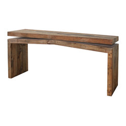 Four Hands - Matthes Console - Combining the rustic charm of natural wood with contemporary designs, Sierra celebrates the rugged beauty of snow-capped mountains and clear alpine lakes with high-style furnishings that give new life to salvaged wood. These beautiful woods are paired with cast metal hardware for a hand-crafted, singular look that ensures no two pieces are ever like.