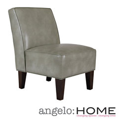 ANGELOHOME - angelo:HOME Dover Vintage Dove Gray Renu Leather Chair - The angelo:HOME Dover armless accent chair was designed by Angelo Surmelis. The Dover armless chair is covered in a vintage dove gray renu leather.