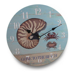 Gone To The Beach Round Nautical Wall Clock 13 in. - If the beach life is the life for you, this wall clock will be a 'shore' thing in your home, on the wall in your sun-room or at the office! The printed on canvas image of a nautilus shell and tropical crabs will add a touch of nautical flair to your walls, and the washed hues of blue and beige and its faux fence appearance are sure to delight you. The face features big, easy to read numbers and visible hands to easily read the time, is made of pressed wood and is 13 inches (33 cm) in diameter. It boasts a quartz movement that requires just one AA battery to operate (not included). This 'Gone to the Beach' wall clock would make a wonderful gift for any beach comber or nautical decor fan!
