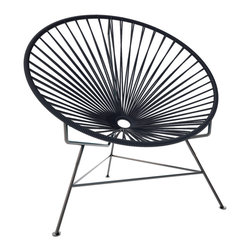 Innit Chair, Black Weave On Black Frame - This iconic chair is perfect for outdoor living, as the woven vinyl is weather poof and easy to clean. But add it to a living room scheme, and it brings the perfect pop of personality. You can order from a rainbow of colors to contrast the black base or stick with the classic all-black design for a monochromatic look.