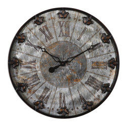 Uttermost - Artemis Antique Wall Clock - Brushed aluminum face with rust distressing and oil rubbed bronze details with gold highlights