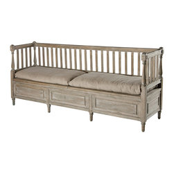 Kathy Kuo Home - Damita French Country Weathered Gray High Back Storage Bench Sofa - Long - This versatile bench features a hinged seat that allows for additional storage. Two removable hemp cushions are included for additional comfort.