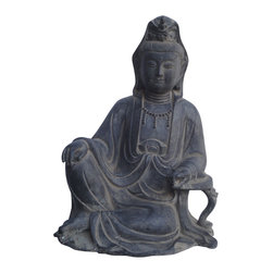 Golden Lotus - Chinese Antique Iron Carving Sitting Peaceful KwanYin Statue - This is a Chinese antique KwanYin statue which is made of Iron.  Look at the peaceful face and sitting on lotus position, it is perfect to put at your entrance of hall way.