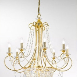 Amadeus chandelier large - Amadeus chandelier large is part of a collection of High End light fixtures made in Vienna, Austria by Kolarz. This light series is designed by artistique minds using the finest materials, metal and crystal, beeing a unique creation and fashioned to reflect individual personality and lifestyle. Amadeus is a spectacular light fixture with eight branches in 24k gold plated and details in crystal pendants, a lampshade in simply candle-lamp or a optional colored shade in three tones, beige, black or red. A mass of Spectra crystals is creating the gorgeous base of Amadeus chandelier. Combining its distinctive design with the highest quality of its materials the hanging light is a luxury path for both commercial and residential interiors. Illumination is provided by E14 and G9, 60W Incandescent and 40W Halogen bulb (not included).     .proddesc p{font-family: Verdana, sans-serif; font-size:8pt!important;}   .pdtable{font-family: Verdana, sans-serif; font-size:8pt!important;padding:10px;} Product Details: Amadeus  chandelier   large is part of a collection of High End light fixtures made in Vienna, Austria by Kolarz. This light series is designed by artistique minds using the finest materials, metal and crystal, beeing a unique creation and fashioned to reflect individual personality and lifestyle. Amadeus is a spectacular light fixture with eight branches in 24k gold plated and details in crystal pendants, a lampshade in simply candle-lamp or a optional colored shade in three tones, beige, black or red. A mass of Spectra crystals is creating the gorgeous base of Amadeus chandelier. Combining its distinctive design with the highest quality of its materials the hanging light is a luxury path for both commercial and residential interiors. Illumination is provided by E14 and G9, 60W Incandescent and 40W Halogen bulb (not included). Details:                         Manufacturer:            Kolarz                            Designer:            Kolarz