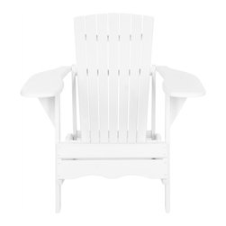 Safavieh - Mopani Chair, White - Inspired by the original Adirondack chair designed in 1903, the Mopani Chair exudes 21st century rustic chic charm. Created for sitting back and enjoying conversation, this chair's wide arm rest and deep slat back are crafted for comfort of sustainable acacia wood in white finish with silver galvanized hardware.