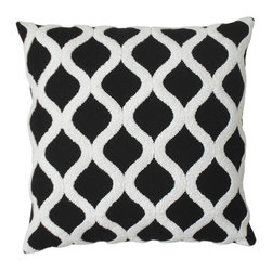 Black and white embroidered trellis decorative pillow cover - One 18x18 decorative pillow cover. Black and white embroidered tufted trellis design featured on the front side with a coordinating solid ivory backing. Finished with a concealed zipper closure. Pillow insert not included.