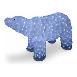 20 In. Acrylic Mother Bear Christmas Decoration with 400 LED Lights - Measures 20 inch high. Pre-lit with 400 UL listed cool white LED lights. Low voltage LED bulbs are energy-efficient, long lasting and cool to the touch. For indoor or outdoor use. Packed in reusable storage carton.