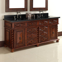 James Martin Furniture - James Martin Furniture Continental 72 in. Double Vanity - Burnished Cherry Multi - Shop for Bathroom Cabinets from Hayneedle.com! An elegant sweeping addition to your traditional-style bathroom the James Martin Furniture Continental 72 in. Double Vanity - Burnished Cherry offers lots of storage in one location. Its durable frame is made from solid sturdy hardwood (a combination of birch and cherry) and comes with a beautiful burnished cherry finish. The frame includes: two cabinets six pull-out drawers and four hideaway drawers. The drawer-fronts and cabinet doors are each decorated with carved accents. A mildew- and moisture-resistant varnish keeps the unit safe. The vanity top comes in a variety of options: a matching wood top a 1.5-inch laminated stone top (several options available) or no vanity top; each material option is subject to availability. Two undermount sinks are included with the set and the vanity top comes pre-drilled for two 3-hole faucet assemblies (faucets not included).About James Martin FurnitureJames Martin Furniture is an international bestseller of fine quality products for every room in the home. From bedroom to bathroom and everything in between James Martin provides a sturdy unit that's right for your home including handsome traditional pieces as well as sleek modern designs. For over a decade the company has built a loyal following from retailers in the United States Australia Asia and Europe. Vanities dressers and mirrors are but a few of the products offered by James Martin Furniture.
