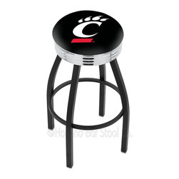 "Holland Bar Stool - Holland Bar Stool L8B3C - Black Wrinkle Cincinnati Swivel Bar Stool - L8B3C - Black Wrinkle Cincinnati Swivel Bar Stool w/ Chrome 2.5 Inch Ribbed Accent Ring belongs to College Collection by Holland Bar Stool Made for the ultimate sports fan, impress your buddies with this knockout from Holland Bar Stool. This contemporary L8B3C logo stool has a single-ring black wrinkle base with a 2.5"" cushion and a 3"" chrome ribbed accent ring that helps the seat to ""pop-out"" at glance. Holland Bar Stool uses a detailed screen print process that applies specially formulated epoxy-vinyl ink in numerous stages to produce a sharp, crisp, clear image of your desired logo. You can't find a higher quality logo stool on the market. The plating grade steel used to build the frame is commercial quality, so it will withstand the abuse of the rowdiest of friends for years to come. The structure is powder-coated black wrinkle with a triple chrome-plated ribbed accent ring to ensure a rich, sleek, long lasting finish. Construction of this framework is built tough, utilizing solid mig welds. If you're going to finish your bar or game room, do it right- with a Holland Bar Stool. Barstool (1)"