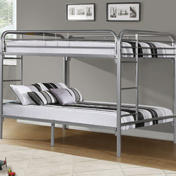 None - Silver Metal Full/ Full Bunk Bed - Save space and create a fun environment in your child's bedroom with this full-over-full bunk bed. The perfect size to fit your child through adolescence,this double bed features convenient ladders on both sides.