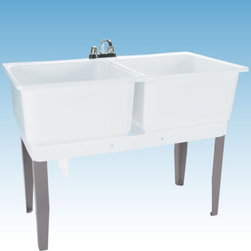 Mustee - Mustee 24C Double Basin Floor Mount Utility Sink Combo - 24C - Shop for Commercial Laundry and Utility from Hayneedle.com! The Mustee 24C Double Basin Floor Mount Utility Sink Combo makes a perfect place to bleach a whole load of whites or hand-wash your delicates. Perfect for large family this set of dual 20-gallon 13-inch deep tubs made from thermoplastic resin and featuring an integrated leak-proof drain (with a stopper). The tubs are connected by a molded divider strip and supported by heavy-gauge steel legs. Installation hardware is included. The unit is fitted for a 4-inch diameter faucet (not included).About Trumbull IndustriesFounded in 1922 as a single branch plumbing supply house Trumball Industries has evolved over the years in to a privately held corporation and full-line distributor with specialized divisions. With 6 branch locations Trumball Industries has several divisions: an Industrial Division that provides products and services to industrial manufacturers a Home Center Division that offers expertise in all major kitchen and bath products a Municipal Division that offers a full line of water and sewer products and a Master Distribution Center with 500 000 square feet housing over 80 000 products. Aside from providing quality services to their customers the people at Trumbull Industries are happy provide a tour of any of their facilities as well as assist you with any design layout or purchasing decisions.