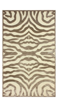 """nuLOOM - Contemporary 5' 1"""" x 8' Cream Machine Made Area Rug Zebra Print - Made from the finest materials in the world and with the uttermost care, our rugs are a great addition to your home."""