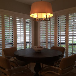 "Rhoda - Plantation Shutters. (Poly) 3 1/2"" Louvers with front tilt."