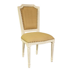 """Noir - Noir Anton Weathered White Side Chair - Featuring natural, simple and classic designs, Noir products supply a timeless complement to a variety of interiors. An intricately detailed frame lends elegant sophistication to the traditional Anton side chair. Nailhead trim provides a modern metallic edge, while a white weathered finish over mahogany wood creates a fresh accent for dining rooms and living rooms. Available in olive cotton fabric.  19""""W x 18""""D x 37""""H."""