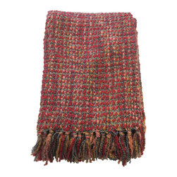 Bedford Cottage - Hanover Throw, Red - Hanovers rich watercolor effect is complimented by the subtle addition of finely textured two-ply yarns.  Hanovers basket style weave is engineered to give maximum color and texture while maintaining durability.