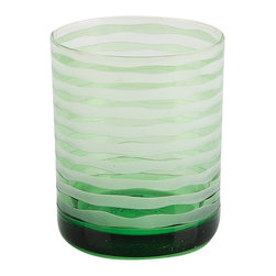 Impulse - Impulse! Vienna Green Rocks Glasses (Set of 4) - Sandblasted stripes reveal vibrant green color in these handsome hand-blown Vienna rocks glasses. Textured and perfectly weighted, the glass features a 9-ounce capacity.