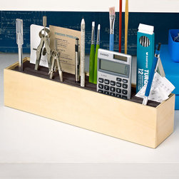 Stand & Deliver Desk Organizer - Constructed of wood with a flexible foam interior, this desktop organizer securely holds onto your odds and ends for secure, neat organization where everything has a place and is always within reach.