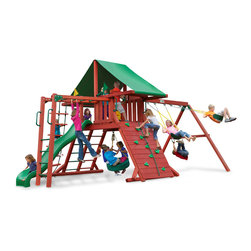 Gorilla Playsets - Sun Valley II Swing Set - Your kids will imagine a world in the trees on the Sun Valley II Swing Set with Deluxe Green Vinyl Canopy by Gorilla Playsets! This swing set was designed to keep kids busy with monkey bars, rock wall and a rope ladder, all while building strength and coordination. The play deck is protected with a green vinyl canopy. This premium cedar wood playset is pre-cut, pre-sanded, pre-stained and ready to assemble in your backyard over the weekend. The entire playset is finished in a beautiful redwood stain.  Gorilla Playsets' cedar naturally resists rot, decay, and insect damage.