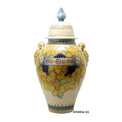 Artistica - Hand Made in Italy - Vecchia Toscana: Large Poutiche Vase - Vecchia Toscana: Traditionally Tuscan ceramic patterns feature strong earth tones, but the design and colors in our all New 'Vecchia Toscana' collection, are subtle and rare to find in genuine Italian Majolica pieces.
