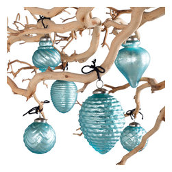 Fiona Mercury Glass Ornaments - Ice Blue - Light up your holiday decor with these beautifully hand-crafted glass ornaments.