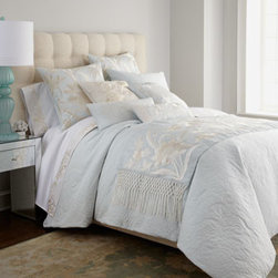 Natori - Natori King Flat Sheet - Inspired by the embroidered silk shawls of the same name, this soft blue bedding collection from Natori showcases exquisite floral embroidery in pearl tones, Calado embroidery, and a stunning runner with hand-knotted fringe. Floral quilting echoes the e...
