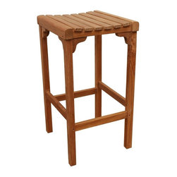 Anderson Teak - Montego Backless Bar Stool - Unfinished - Pull up the seat on this great wooden piece with ease when you line up this quality item.  Simple lines align with supportive nooks and legs to sport craftsmanship and easily pull up close to most bar tables and more.  View our site for additional items to decorate your outdoor patio.  Indulge those Parisian drink concoctions in your Teak Foldable Barstool w/ Footrest, a lovely piece exemplary of comfy, cozy country charm, detailed craftsmanship, rustic design and a genuine commitment to unceasing luxury and boundless appeal.  The contoured, slatted seat is exceptionally comfortable and allows rainwater to drain through, making it ideal for outdoor use. * Backless. Sturdy footrest for going up and down. Made with kiln-dried, grade A Teak wood. No assembly required. Overall: 16 in. W x 16 in. D x 29 in. H (11 lbs.). Seat height: 29 in.Montego Backless Bar Stool is designed with curved seat for comfort.