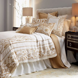 """Callisto Home - Callisto Home """"Bar Harbor"""" King Duvet Cover, 110"""" x 98"""" - Persian-inspired designs on cream linen look beautiful in both modern and traditional settings. Velvet appliques and rayon embroidery in golds and tans enhance the duvet covers. Standard and king shams are hand embroidered with ornate floral scrollw..."""