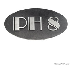 """Oval Art Deco Address Plaque 14"""" x 7"""" in Pewter Finish - Our Oval Art Deco Address Number Plaque evokes what is surely one of the most distinctive design movements of the 20th century. With our use of the Broadway Font, you can just smell the Chrysler Building and the 1920s and 1930s. Shown here in silver nickel finish with raised lettering style and the second picture shows recessed lettering style. View more images to see the Broadway typeface used on this plaque."""