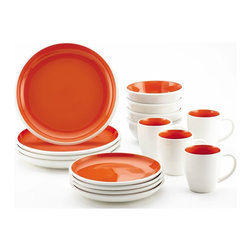 Rachael Ray - Rachael Ray Rise 16 Piece Dinnerware Set - 58638 - Shop for Sets from Hayneedle.com! Even that simple weekend lunch you whipped up gets a bold beautiful makeover when you serve it on the Rachael Ray Rise 16 Piece Dinnerware Set. It s all thanks to the vivid two-tone design which is available in a range of color options adds instant pizzazz to any table and wonderfully captures Rachael Ray s keen eye for design. The set comes complete with four each of salad plates dinner plates bowls and mugs and it s crafted of durable stoneware that retains heat so foods and beverages stay warmer longer. Plus they re microwave and dishwasher safe.About Rachael RayThis collection of fun functional colorful cookware is inspired and endorsed by TV personality Rachael Ray. Express yourself through your cookware with these truly unique pieces made with high-quality materials like cast iron and bright enamel exteriors. These hard-working pieces are perfect for all types of cooks from casual home users to commercial chefs and you'll love the way they look in your kitchen.