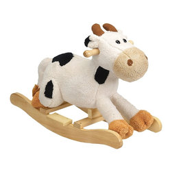 "Charm Co. - Carlton Cow Rocker with Sound - Carlton Cow plush rocking toddler rocker is made of a super soft plush that has the feel of a baby blanket. This rocking cow features a white plush body with black spots and a light tan snout. Squeeze his ear to hear him ""moo"", this feature requires 2AA batteries (not included)."