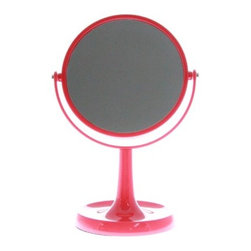 Two-Sided Tabletop 360 Degree Swivel Vanity Mirror - Two sided 1X and 3X magnification mirror, Lightweight and portable, Made of plastic and doesn?t rust, Comes with jewelry tray and non slip base, 16.5cm diameter mirror