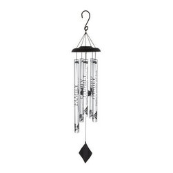 Carson 40 in. Solar Sonnets Wind Chime - Family - The Carson 40 in. Solar Sonnets Wind Chime - Family is a delightful housewarming gift. The solar wind chime features all-aluminum construction with durable powder coating and silver anodized finish. Each tube reads, FAMILY together in sunshine and shade. The adjustable striker varies the tonal range as you wish. Dimensions: 1.25W x 40H inches.About Carson Home AccentsOriginally founded as the Carson Casting Company in 1970 by Harry Carson, Sr., today Carson Home Accents is a wholesale manufacturer and distributor of a wide range of gifts, garden accents, and home decor. Operated by three generations of the Carson family, the company continues to craft traditional merchandise made of Statesmetal™, an aluminum alloy resembling pewter that goes through the time-honored process of sand casting to create one-of-a kind accents that won't chip, crack, or break. Located in southwestern Pennsylvania, Carson Home Accents is a recognized leader in the industry, designing creative garden decor, wind chimes, candle accessories, inspirational goods, and custom cast metal products.Please note this product does not ship to Pennsylvania.