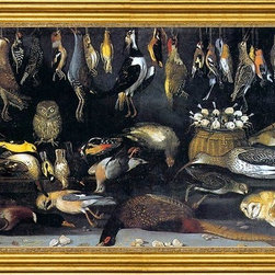 """Master of Hartford Still-life-16""""x24"""" Framed Canvas - 16"""" x 24"""" Master of Hartford Still-life Still-Life with Birds framed premium canvas print reproduced to meet museum quality standards. Our museum quality canvas prints are produced using high-precision print technology for a more accurate reproduction printed on high quality canvas with fade-resistant, archival inks. Our progressive business model allows us to offer works of art to you at the best wholesale pricing, significantly less than art gallery prices, affordable to all. This artwork is hand stretched onto wooden stretcher bars, then mounted into our 3"""" wide gold finish frame with black panel by one of our expert framers. Our framed canvas print comes with hardware, ready to hang on your wall.  We present a comprehensive collection of exceptional canvas art reproductions by Master of Hartford Still-life."""
