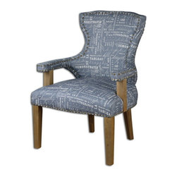 "Uttermost - Uttermost 23168  Citographie Gray Linen Armchair - Hardwood construction built with craftsman detail in the gray linen tailoring, brass nails over fabric trim, and solid oak exposed frame. seat height is 22.5""."