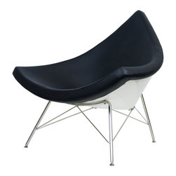 "IFN Modern - Coconut Chair Reproduction-Black - 100% Italian Leather - The design of the Coconut Chair was created by  George Nelson and his inspiration for this chair comes from a coconut shell itself. George Nelson is considered to be one of the founders of mid century modern design- he was known for designing furnishings which contained elements of the natural world. This chair features the form of a cut-off section from a coconut and it designed with the intention of both aesthetic strikingness as well as comfort. This chair is analogous with the Minimalist movement that existed in the 1950's and it was first designed in the year 1955. This chair is beyond a piece of conversation- it is perfect for relaxation- whether one is looking to relax at a home, office, or a lounge setting.  Overall Dimensions: 38.6"" H x 43.3"" W x 31.1"" Dâ— Available in 100% Full Grain Italian Leather & 100% Full Grain Aniline Leatherâ— Variety of colors availableâ— Sturdy fiberglass shellâ— Thick padded leather cushioningâ— Stainless steel legsâ— Stainless steel ensures durability, resistant to corrosion and is easy to cleanâ— 5 Year warranty"