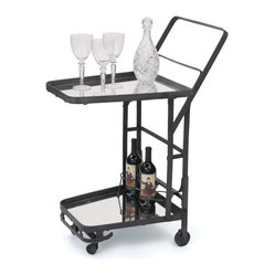 Go Home - Uptown Bar Cart - This fabulous bar cart is the perfect accent piece for your dining room. Serve your guests beverages in style with this chic cart made of metal with a nickel plated finish. The cart features two mirrored glass shelves for all your drink necessities. Top with our fabulous bar ware, wine accessories, and a few bottles of your favorite spirits! Cheers!