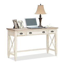 Riverside Furniture - Coventry Two Tone Writing Desk with 2 Outside Drawers - Center drawer with two outlet power bar and removable pencil tray.