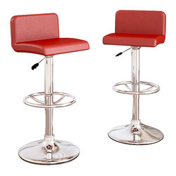 Sonax - Sonax CorLiving Low Back Bar Stool in Red Leatherette (Set of 2) - Sonax - Bar Stools - B357UPD - Add spice to any bar or kitchen island with the Bar Stool featuring a comfortable padded seat with a stylish low backrest. Finished in Red soft leatherette upholstery with a chrome foot rest, chrome gas lift and chrome base, this bar stool easily adjusts to variable bar heights to suit your dining needs. A great addition to any home!