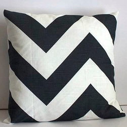 Oversized Charcoal Chevron Pillow Cover by Moxie Mandie - This black and white pillow would make my blue chairs pop.