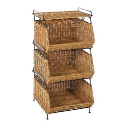 Eco Displayware - Stackable Filing Rattan Baskets in Natural - 3 Tiers. Great for closet, bath, pantry, office or toy and game storage. Earth friendly. 17 in. W x 16 in. D x 34 in. H (33.63 lbs.)These natural colored baskets add warmth and charm and keep you organized.