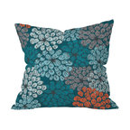DENY Designs - Khristian A Howell Greenwich Gardens 3 Throw Pillow, 18x18x5 - Add some soft color and playful pattern to your sofa, bed or bench with this pillow. Stylized flowers in blues, grays and dark coral float against a teal background. Custom printed on woven polyester, it features a zipper closure and bun insert for easy cleaning.