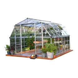 Poly-Tex - Americana 12 ' x 12' Greenhouse - AMERICANA™ The Americana™ 12' x 12' Hybrid Greenhouse is large enough to create that garden oasis you've always wanted! The large footprint and barn style roof provide ample room for both gardening and leisure space. With double, swinging doors and two vent windows you'll have abundant air flow to create a comfortable environment for you and your plants. With the Americana™ you have room to grow and room to share your love of gardening.