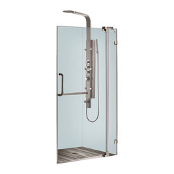 Vigo - 36in.  Frameless Shower Door 3/8in.  Clear Glass Brushed Nickel Hardware - Experience fine quality combined with superior design in a VIGO frameless shower door.