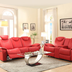 Homelegance - Homelegance Talbot 2 Piece Living Room Set in Red Leather - Designed with your bold design choices in mind  the contemporary Talbot Collection will provide your family and friends with a comfortable place to spend their quality time. Offered in red or black bonded leather match  the race car inspired bucket seat is fine tuned by contrast double stitching. Features include: adjustable headrests  reclining ends sofa  glider reclining love seat with console and glider mechanism equipped coordinating chair.