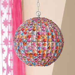 Pendant Lamp - Go bold and funky in your daughter's space with this pendant lamp. Glass beads create a rainbow of colorful lights that dance around the room. Engage her newborn attention with beautiful detail that can grow in her space through the years, just as she will.