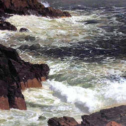 "Frederic Edwin Church Rough Surf, Mount Desert Island   Print - 18"" x 24"" Frederic Edwin Church Rough Surf, Mount Desert Island premium archival print reproduced to meet museum quality standards. Our museum quality archival prints are produced using high-precision print technology for a more accurate reproduction printed on high quality, heavyweight matte presentation paper with fade-resistant, archival inks. Our progressive business model allows us to offer works of art to you at the best wholesale pricing, significantly less than art gallery prices, affordable to all. This line of artwork is produced with extra white border space (if you choose to have it framed, for your framer to work with to frame properly or utilize a larger mat and/or frame).  We present a comprehensive collection of exceptional art reproductions byFrederic Edwin Church."