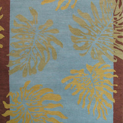 Indich Collection - Monstera design Hawaiian Rug., Blue/Green, 2' X 3' - Exclusive Monstera design with aqua blue background with lime green leaves and brown border.  This rug is hand knotted in India using a 80 knot Tibetan weave.  Rug is made using 100% wool pile on cotton foundation.