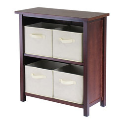 Winsomewood - Verona 2-section M Storage Shelf with 4 Foldable Beige Fabric Baskets - This storage shelf comes with 4 foldable beige fabric baskets. Warm Walnut finish storage shelf is perfect for any room in your home. Use it alone as bookcase/shelf or with baskets for a complete storage function. Assembly required for shelf.